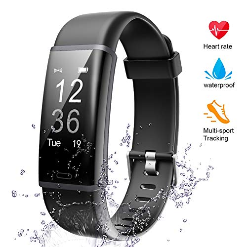 Lintelek Fitness Tracker Heart Rate Monitor, Activity Tracker, Pedometer Watch with Connected GPS, Waterproof Calorie Counter, 14 Sports Modes Step Tracker for Women, Men, Kids and Gift, Black
