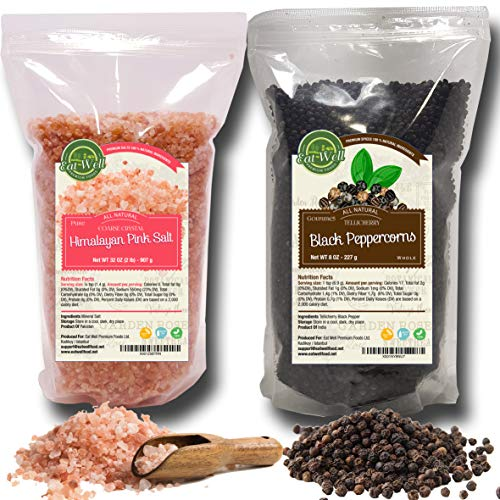 Whole Black Peppercorns 12oz | Himalayan Pink Salt (Coarse Grain) 2 lbs | Premium Grade, Freshly Packed | Pepper Corns For Grinders Refill | Herbs & Spices | by Eat Well Premium Foods
