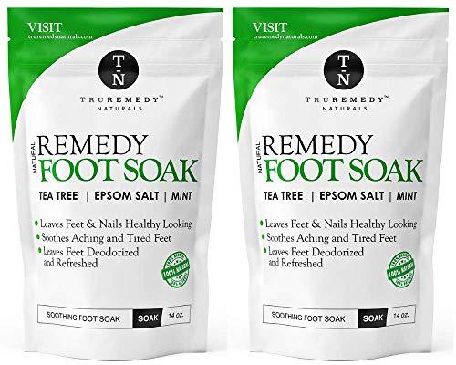 Tea Tree Oil Foot Soak With Epsom Salt & Mint, Feet Soak Helps Toenail System, Athletes Foot & Stubborn Foot Odor - Foot Bath Salt Softens Calluses & Soothes Sore Tired Feet, 14 Ounce (Pack of 2)