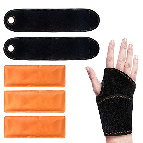 Wrist Ice Gel Pack Wrap for Wrist Hot Cold Therapy - Great for Sprained Wrist, Rheumatoid Arthritis, Carpal Tunnel, Joint Pain, Sports Injuries - Adjustable Wrist Ice Brace for Pain Relief