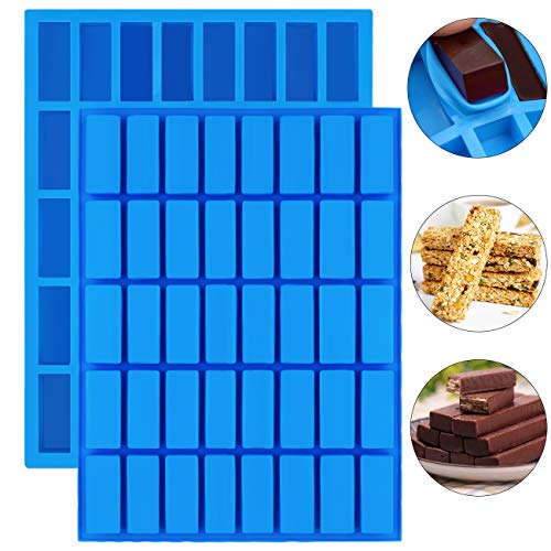 Mity rain 2 pack 40 Cavity Narrow Rectangle Silicone Caramel Candy Molds Chocolate Bar Mold for Truffles, Ganache, Jelly, Praline, Brownie, Butter, Ice Cube Tray