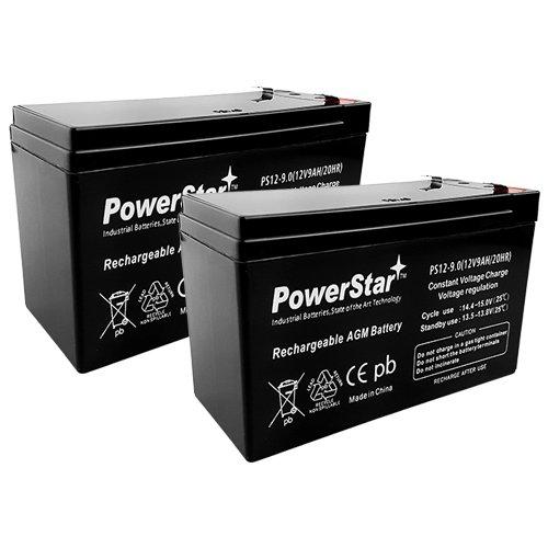 PowerStar-2Pack-2 Year Warranty 12V 9AH SLA Battery for Razor e200 / e200s / e225 / e300 / e300s / e325