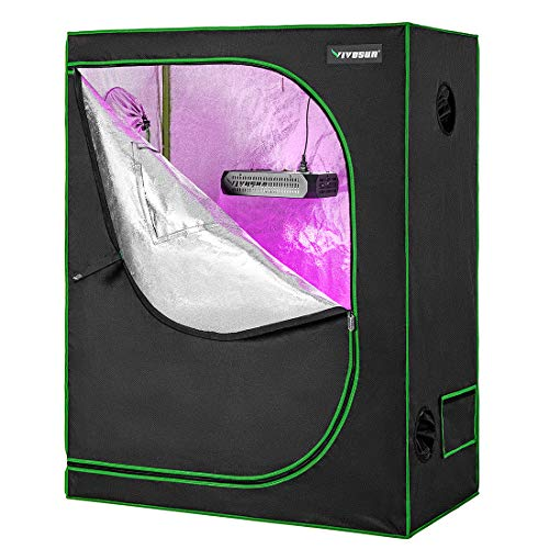 VIVOSUN 48' X24' X 60' Hydroponic Grow Tent + 300W LED Grow Light for Indoor Plants Veg and Flower
