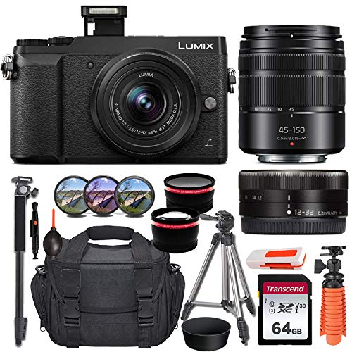 Panasonic Lumix DMC-GX85 Mirrorless Micro Four Thirds Digital Camera with 12-32mm and 45-150mm Lenses (Black) + Essential Starter Accessory Bundle incl. Wide-Angle & Telephoto Conversion Lens & More