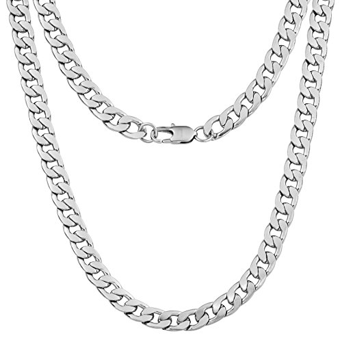 Silvadore 9mm Curb Mens Necklace - Silver Chain Flat Cuban Stainless Steel Jewelry - Neck Link Chains for Men Man Boys Male Heavy Military - 18 20 22 24 inch (24, Velvet Pouch)