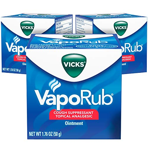 Vicks VapoRub, Chest Rub Ointment, Relief from Cough, Cold, Aches, & Pains with Original Medicated Vicks Vapors, Topical Cough Suppressant, 1.76 OZ Each (Pack of 3)