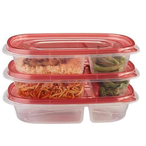 Rubbermaid TakeAlongs Divided Rectangular Food Storage Containers, 3.7 Cup, Tint Chili, 3 Count