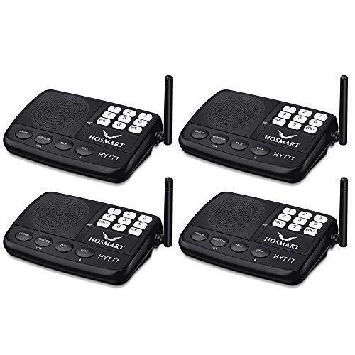 Wireless Intercom System Hosmart 1/2 Mile Long Range 7-Channel Security Wireless Intercom System for Home or Office (New Version) [4 Stations Black]