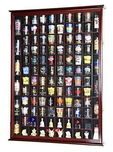 108 Shot Glass Shotglass Shooter Display Case Holder Cabinet Wall Rack 98% UV Lockable Door -Cherry