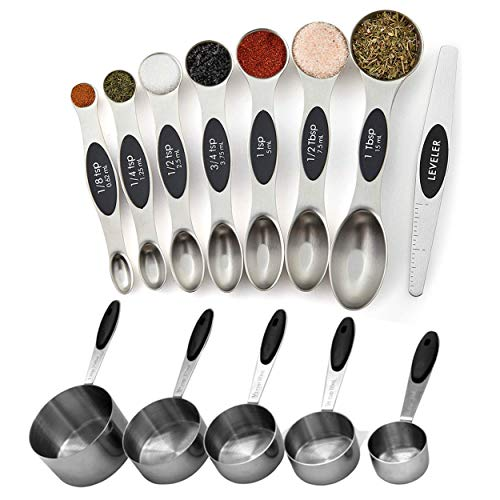 Measuring Cups and Magnetic Measuring Spoons Set, Stainless Steel 5 Cups and 7 Spoons