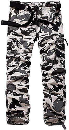 AKARMY Men's Cotton Casual Work Cargo Pants, Military Tactical Combat Trousers with 8 Pockets Black Hawk Camo 40