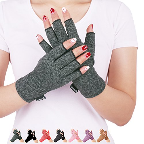 Arthritis Compression Gloves Relieve Pain from Rheumatoid, RSI,Carpal Tunnel, Hand Gloves Fingerless for Computer Typing and Dailywork, Support for Hands and Joints (L, Grey)