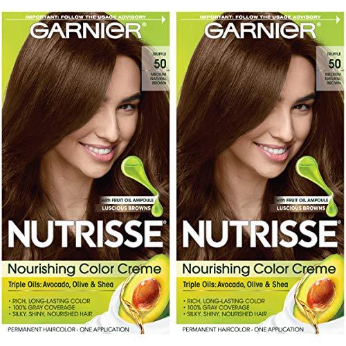 Garnier Nutrisse Nourishing Permanent Hair Color Cream, 50 Medium Natural Brown (Truffle) (2 Count) Brown Hair Dye