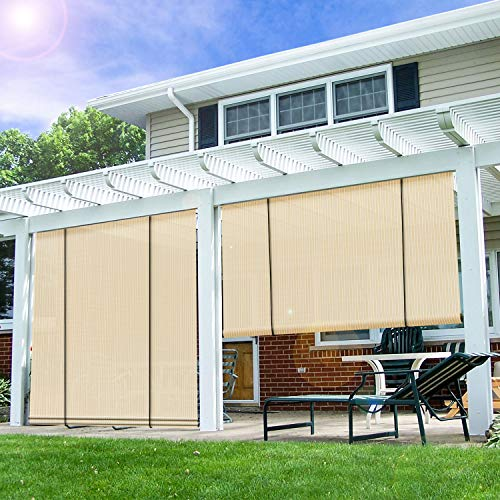 E&K Sunrise Roll up Shade Roller Shade 8'Wx6'H Porch Pergola Privacy Screen Roll up Blinds Sun Shade for Deck Gazebo Patio Back Yard Outdoor Sun Shade Beige