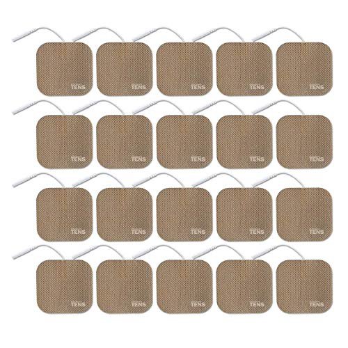 TENS Wired Electrodes Compatible with TENS 7000, Premium Replacement Pads for TENS Units, Discount TENS Brand (2in x 2in, 20 Pack)