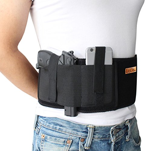 CREATRILL Neoprene Belly Band Holster Concealed Carry with Magazine Pocket/Pouch & 2 Elastic Straps for Women Men Fits Glock, Ruger LCP, M&P Shield, Sig Sauer, Ruger, Kahr, Beretta, 1911, etc