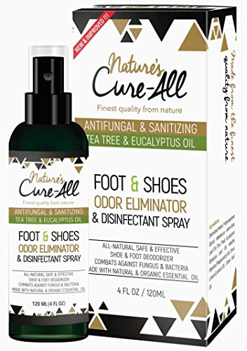 Odor Eliminator Foot & Shoe Sanitizer Spray 4Oz | Antibacterial Disinfectant Spray & Shoe Deodorizer Spray | 100% Natural Ingredients with Anti-fungal Tea Tree Oil | Made In USA