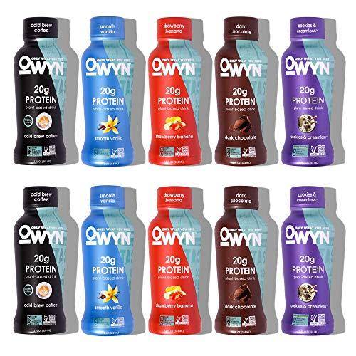Owyn, Vegan Protein Shake, 5 Flavor Variety Pack,12 Fl Oz, 100-Percent Plant-Based, Dairy-Free, Gluten-Free, Soy-Free, Tree Nut-Free, Egg-Free, Allergy-Free, Vegetarian, Kosher (Pack of 10)