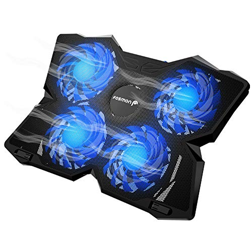 Fosmon 4 Fan Cooling Pad for 13' to 17-inch Gaming Laptop PS4 MacBook Pro, [1200 RPM|Max 75CFM Air Flow] USB Powered Quiet Cooler Fan Portable Stand with Dual 2.0 USB Ports & Blue LED Lights