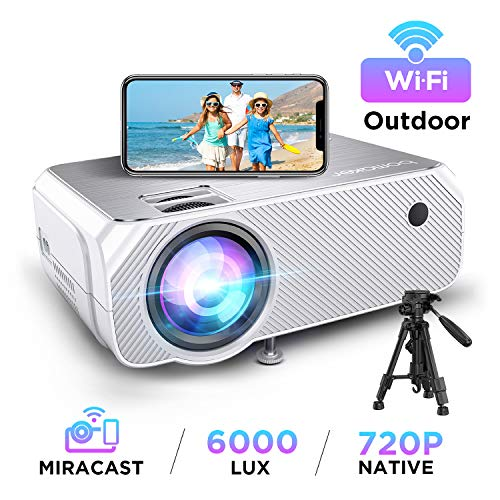 Wi-Fi Mini Projector, 6000 Lux, Bomaker Portable Projector for Outdoor Movies, Full HD 1080P Supported Outdoor Movie Projectors, Wireless Mirroring, for iPhone/ Android/ Laptops/ Windows/ PCs - White
