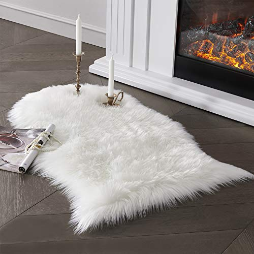 Soft Faux Sheepskin Fur Area Rug White Fur Chair Cover Seat Pad Fuzzy Area Rug for Bedroom Floor Sofa Living Room 2x3 Feet SERISSA (White)