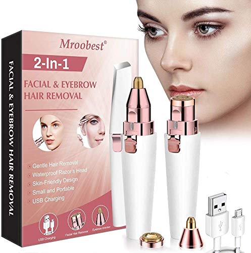 Eyebrow Hair Removal, Rechargeable Eyebrow Trimmer, 2 in 1 USB Rechargeable Eyebrow Hair Remover, with LED Light, Eyebrow Epilator for Eyebrow/Lips/Nose/Body/Facial Hair