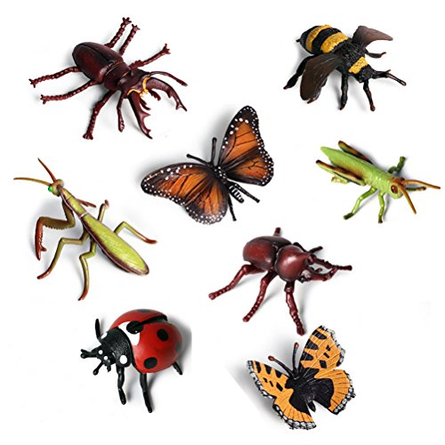 Odowalker 8 pcs Lifelike Assorted Plastic Insects Bugs Figures Realistic Sandbox Toy 4' Butterfly, Bee, Ladybug, Grasshopper, Mantis,Uang,Stag Beetle