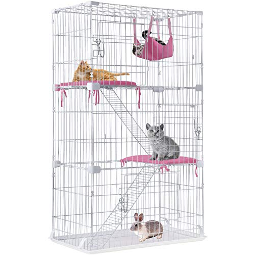 Cat Cage Cat Crate Kennel Cat Playpen with Free Hammock Perching Shelves 3 Cat Bed 3 Front Doors 2 Ramp Ladders,67 inches