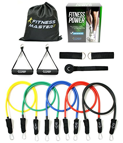 Resistance Bands - Tension Band Set for Weights Exercise, Fitness Workout - Heavy Resistant - Comes with Door Anchor Attachment, Legs, Ankle Straps and Carry Case