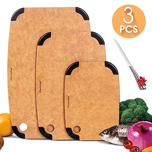 Wood Fiber Cutting Board for Kitchen Dishwasher Safe(3-Piece Set),Eco-Friendly,Non-Slip,Non-Porous,BPA Free,Large:15.7x10.2-inch,Medium:12.8x8.4-inch, Small:9.3x6.5-inch with 1Pcs Sharp Knife