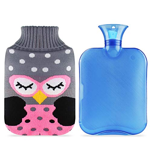 Hot Water Bottle, UBEGOOD 2L Hot Water Bag with Knitted Cover, Classic Transparent Water Bag for Pain Relief, Gift for Women and Girls (Blue & Owl)