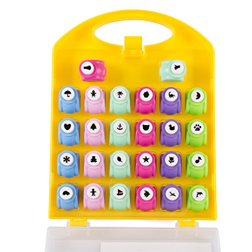 Scrapbook Paper Punch - 26pc Mini Paper Hole Punchers w Case - All Different Crafting Designs - Great Gift