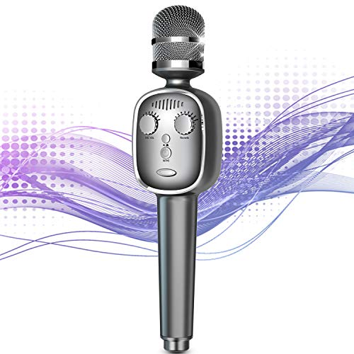 Wireless Karaoke Microphone Bluetooth 5.0 Portable Handheld Karaoke Player Mic Speaker Machine with Voice Changer Vocal Remover Voice Recording Home Party for Android iOS All Smartphone(Gray)