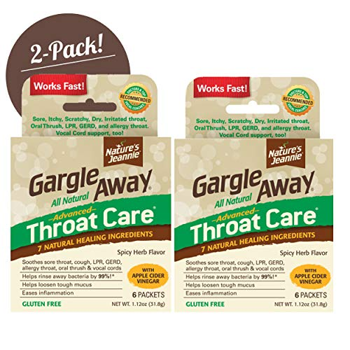 Gargle Away by Nature's Jeannie - Natural Sore Throat Remedy, Vocal Care, Mucus Relief, Cough Suppressant for Adults (12 Packets)