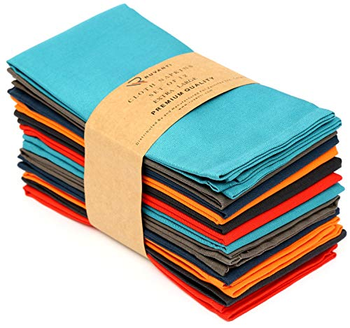 Ruvanti Multi Color Cloth Napkins 12 Pack (18'X18') Durable Linen Napkins - Soft and Comfortable Reusable Fabric Napkins -Perfect Table Napkins/Cotton Dinner Napkins/Cocktail Napkins for Home Use.
