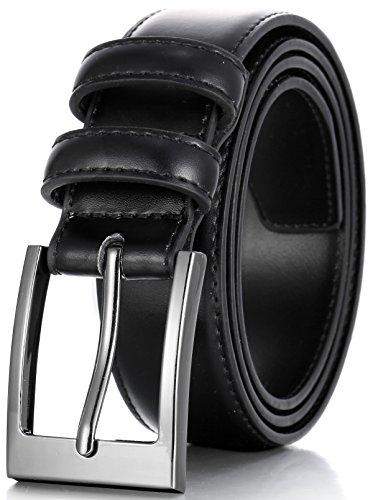 Marino's Men Genuine Leather Dress Belt with Single Prong Buckle - Black - 58