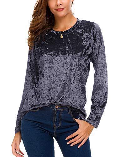 Women's Vintage Velvet T-Shirt Casual Long Sleeve Top (L, Purple)