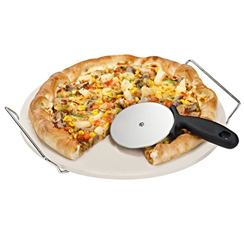 VonShef 15 Inch Ceramic Pizza Stone Set With Heavy Duty Chrome Stand with FREE Pizza Cutter