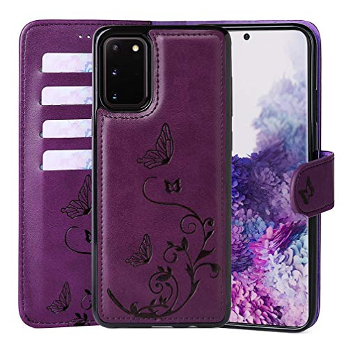 WaterFox Samsung Galaxy S20 Case, Wallet Leather Case with 2 in 1 Detachable Cover, Women's Vintage Embossed Pattern with 4 Card Slots & Wrist Strap Case - Purple