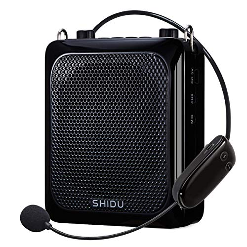 SHIDU Wireless Voice Amplifier, Protable 25W High Power PA System with UHF Headset Microphone and Speaker,Bluetooth,Multifunction Speakers Megaphone for Outdoor,Teachers, Classroom,Tour Guide,Fitness