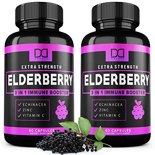 Elderberry Capsules Formulated for Immune System Support - Zinc & Vitamin C Echinacea Extract Infused Syrup Supplement for Kids, Adults, Toddlers, and Elderly - (2 Pack)