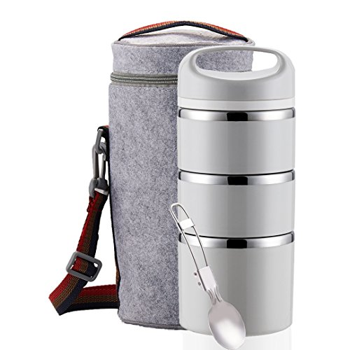 Lille Home Stackable Stainless Steel Thermal Compartment Lunch/Snack Box, 3-Tier Insulated Bento/Food Container with Lunch Bag & Foldable Spoon, Smart Diet, Weight Control, Grey