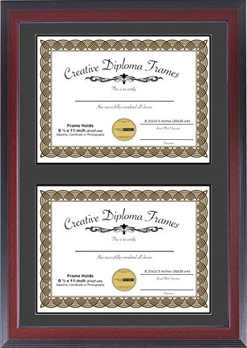 Creative Picture Frames 14'x20' Mahogany Finish Double Diploma Frame with Black Matting Holds Two 8.5 x 11 -inch Media and Installed Wall Hangers