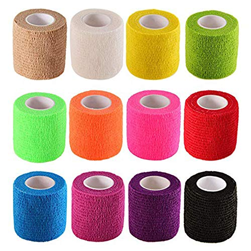 Chi yue Self-Adhesive Elastic Wrap Bandage Tape(2 Inches x 5 Yards, Pack of 12) (Assorted Color)