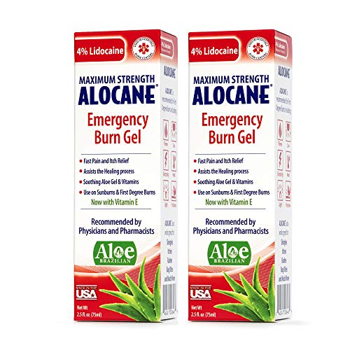 Alocane Emergency Burn Gel, 4% Lidocaine Max Strength Fast Pain Itch Relief for Minor Burns, Sunburn, Kitchen, Radiation, Chemical, First Degree Burns, First Aid Treatment Burn Care 2.5 Fl Oz, 2 Pack