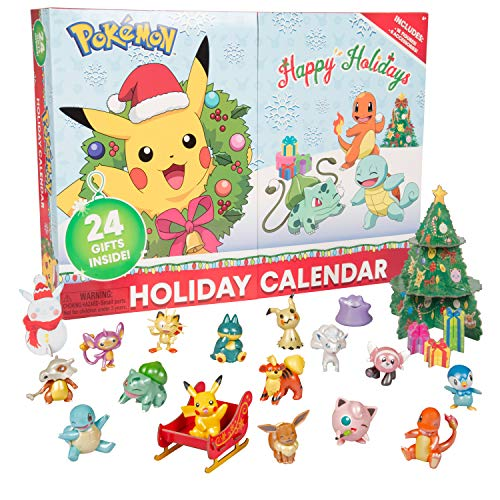 Pokemon 2021 Holiday Advent Calendar for Kids, 24 Pieces - Includes 16 Toy Character Figures & 8 Christmas Accessories - First Time Special Edition - Ages 4+