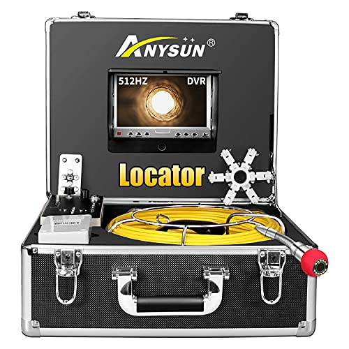 Sewer Camera 165ft with Locator, 512Hz Sonde Transmitter Plumbing Camera Snake with DVR Recorder, Inspection Cam with 7' LCD Monitor with Fiber Optic Cable Wire (8 GB SD Card Included) (165ft/50m)