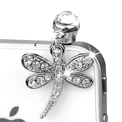 ip255-B Luxury Crystal Dragonfly Charm Phone Anti Dust Plug for iPhone Huawei Samung iPad iPod Android Phone with 3.5mm Earphone Jack