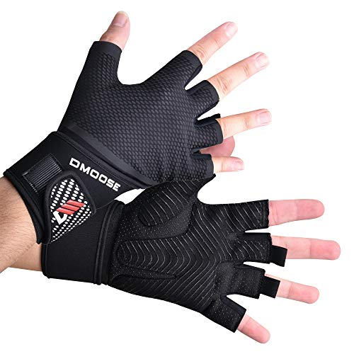 DMoose Weight Lifting Gloves for Deadlifts, Weightlifting, Powerlifting, Crossfit, and Strongman Workouts, Heavy Duty Wrist Support, Gym, and Olympic Bar (Bombshell - Wrist Support, Large)