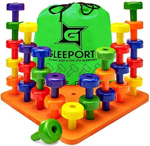 Stacking Peg Board Set Toy - Montessori Occupational Therapy Early Learning for Fine Motor Skills, Ideal for Toddlers and Preschooler, Includes 30 Plastic Pegs & 1 Board, FREE BONUS: Storage Bag